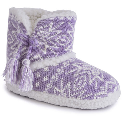 SlumberzzZ Girls Warm Fairisle Knitted Detailed Thick Coral Fleece Lined Slipper, Lilac, 9/10 UK Child, EU 27/28