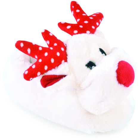 SlumberzzZ Kids Novelty Reindeer Design Soft Faux Fur Warm Classic Slipper