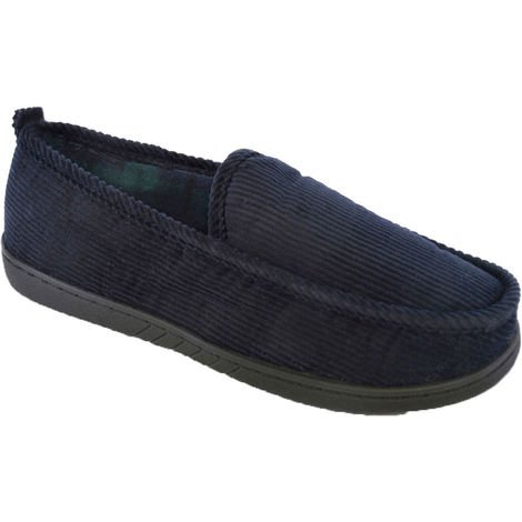 SlumberzzZ Mens Cord Rib Style Check Fleece Lined Slippers