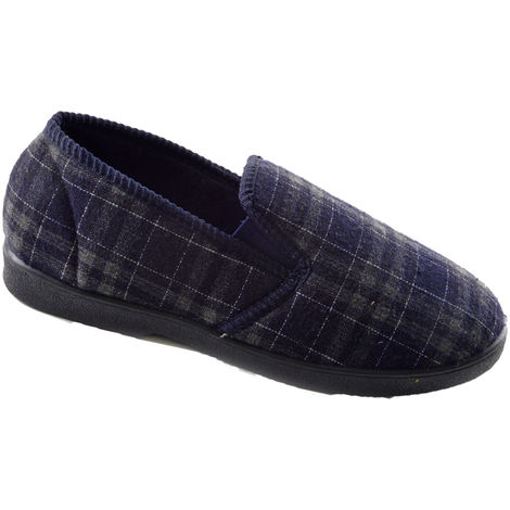 SlumberzzZ Mens Tartan Check Fleece Lined Closed Slippers