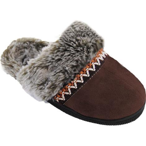 SlumberzzZ Womens Braided Design Faux Fur Mule Slippers