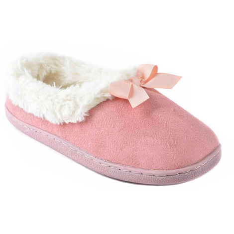 SlumberzzZ Womens Faux Fur Lined Microsuede Closed Slippers