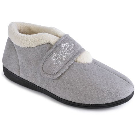 SlumberzzZ Womens Floral Embroidered Touch Close Slippers, Grey, 5 UK, EU 38