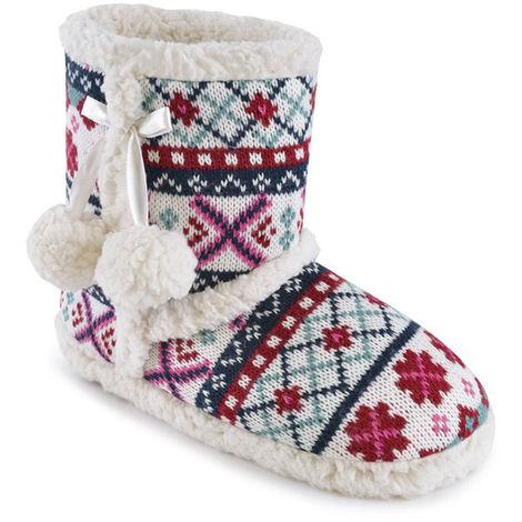 SlumberzzZ Womens Knitted Fairisle Design Boot Slippers, White, 5/6 UK, EU 38/39