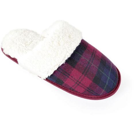 SlumberzzZ Womens Tartan Fabric Design Mule Slippers