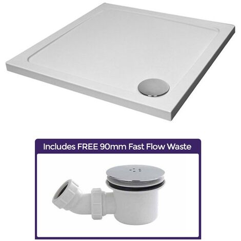 Small 700 x 700 Shower Tray Square Slimline Included with Low Profile Waste