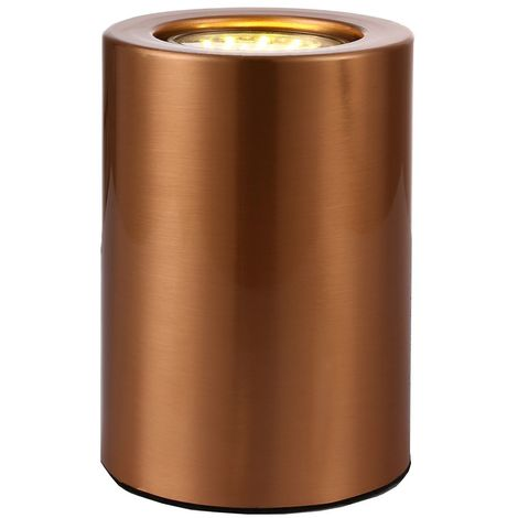 Small and Contemporary Brushed Copper LED Table/Floor Lamp Uplighter by Happy Homewares