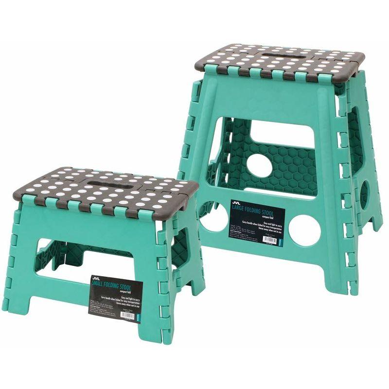 Image of Small and Large Folding Step Stool, Turquoise - JVL