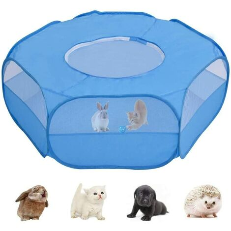 """main image of """"Small Animal Playpen, Pet Cage with Top Cover Anti Escape, Waterproof Small Animal Cage Transparent Yard Fence for Dog Cat Bunny Puppy Rabbits Guinea Pig Hamster Chinchillas Playpen"""""""