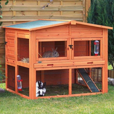 Small animal stall XL with outdoor enclosure 134 x 83 x 111 cm: 54.2 x 15 cm