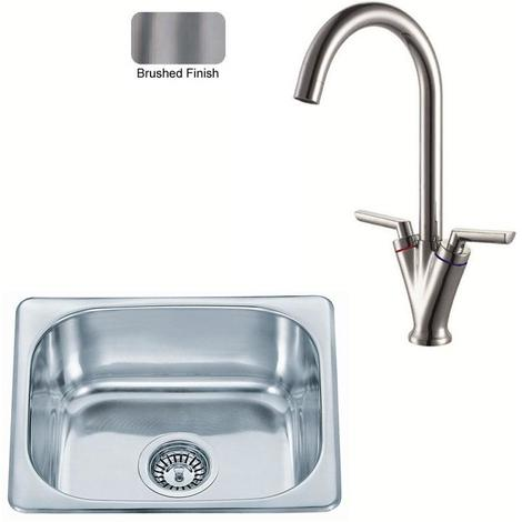 Small Bowl Stainless Steel Inset Kitchen Sink& Mixer Tap Brushed Set (KST100 bs)