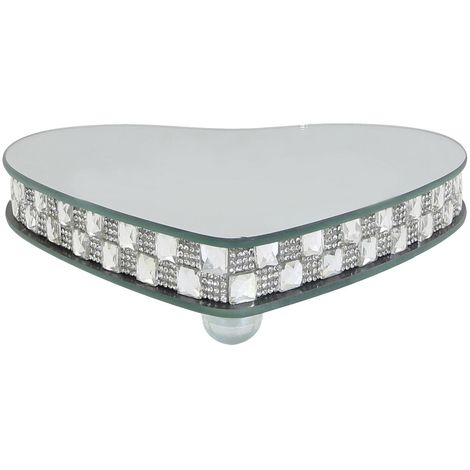 Small Chequered Silver Mirror Heart Candle Plate With Feet (Set of 2)