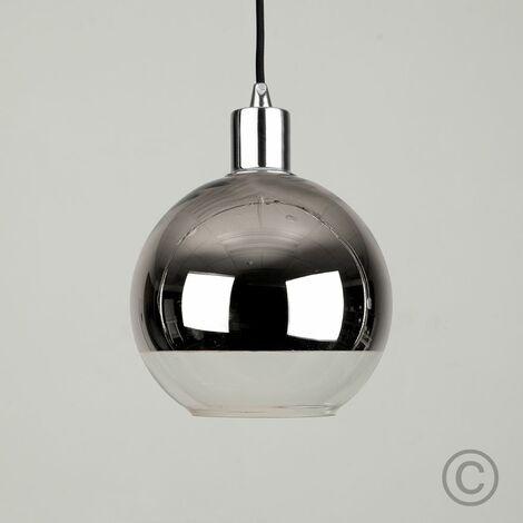 Small Chrome Clear Glass Ball Ceiling Pendant Light Shade Black Chrome Ceiling Rose Flex Lamp Holder Pendant Light