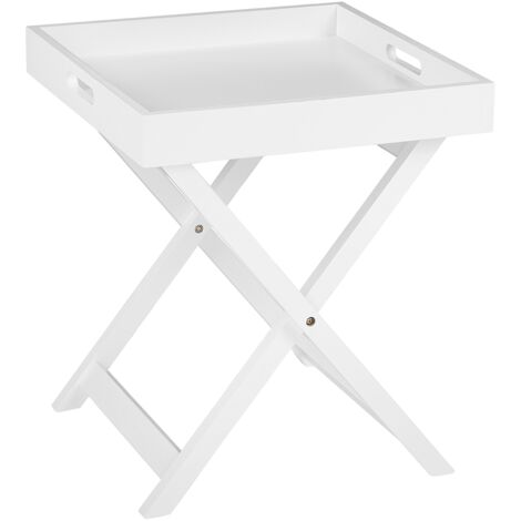 Small Coffee Table Side Table Removable Trey Top White Chester