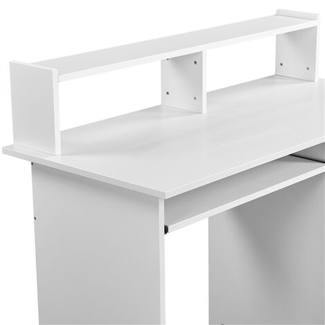 Small Computer Desk With Keyboard Tray 1 Drawer Adjustable Compartment Home Office Furniture