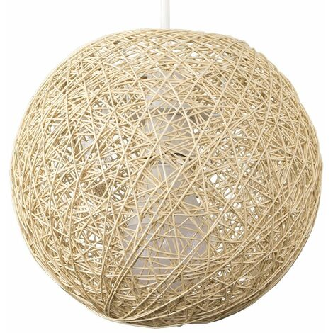 Small Cream Lattice Wicker Rattan Globe Ball Ceiling Pendant Light Lampshade
