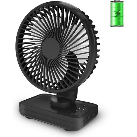 "main image of ""Small Desk Fan, Quiet Portable Fan, Rechargeable Battery Operated Personal Fan for Home Office Bedroom Desktop Table, 4 Speeds, Black"""