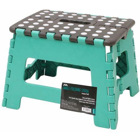 JVL Small Folding Step Stool, Turquoise