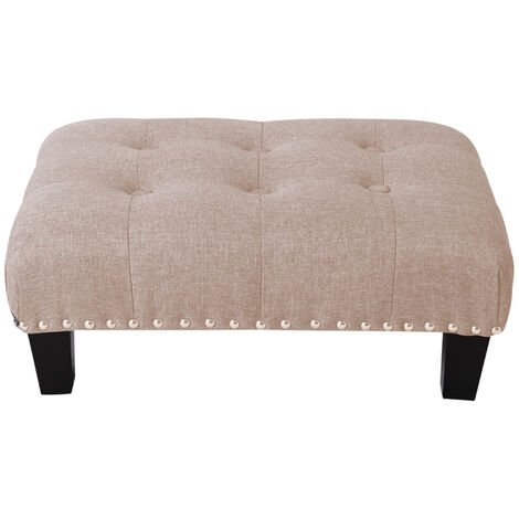 """main image of """"Small Footstool Deep Buttoned Tufted Pouffe Ottoman Bench Beige 50x37x20cm"""""""