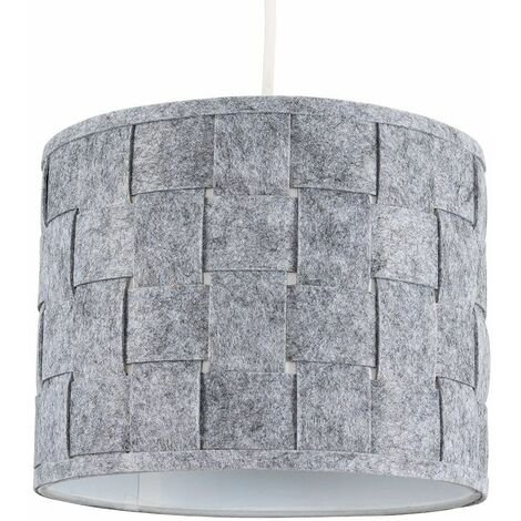 Small Grey Felt Weave Ceiling Pendant / Table Lamp Light Shade + 10W LED Gls Bulb Warm White