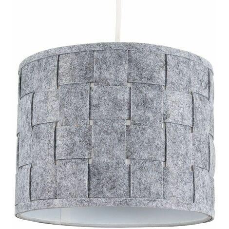 Small Grey Felt Weave Ceiling Pendant / Table Lamp Light Shade + 10W LED Gls Bulb Warm White - Grey