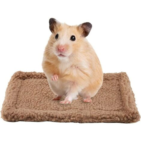 Small Guinea Pig Hamster Bed Rectangular House Warm Plush Rug Sleeping Pad Pets Cushion for Mice Rats Chinchillas Rabbit Hedgehog Squirrel Dutch Pig (Light Brown)