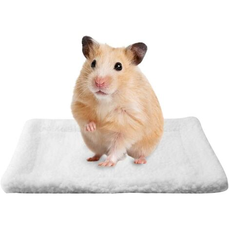 Small Guinea Pig Hamster Bed Rectangular House Warm Plush Rug Sleeping Pad Pets Cushion for Mice Rats Chinchillas Rabbit Hedgehog Squirrel Dutch Pig (white)