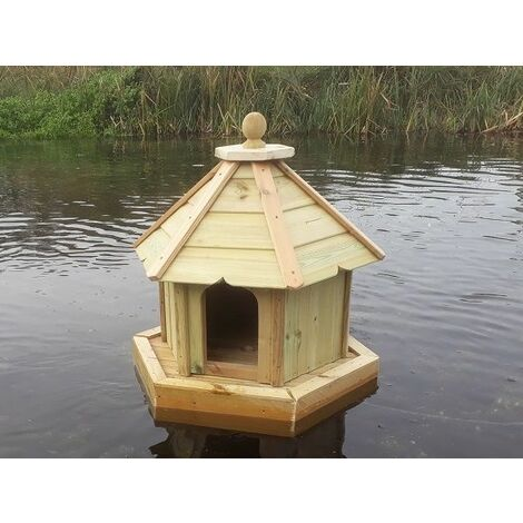 Small Hexagonal Floating Duck House, Waterfowl Nesting Box for Pond or Lake