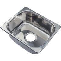 Small Kitchen Sink Inset Top Mount Single Bowl 420x363mm Stainless Steel New (A11)