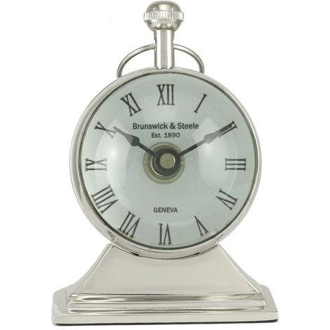 Small Nickel Magnifying Round Table Clock - Big Living