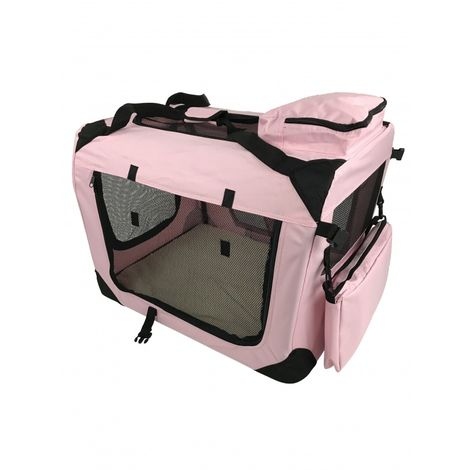 Small Pet Carrier Folding Soft Crate - Pink