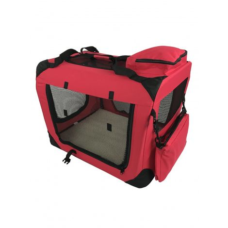 Small Pet Carrier Folding Soft Crate - Red