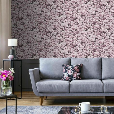 Small Pink Roses Floral Wallpaper Flowers Collage Photographic Muriva Rosalee