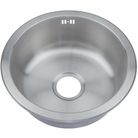 Small Round Bowl Matt Brushed Stainless Steel Inset Mount Kitchen Sink (M07 bs)