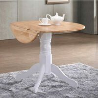Small Round Pedestal Table White Drop Leaf Folding Wooden Oak Dining Kitchen Leg
