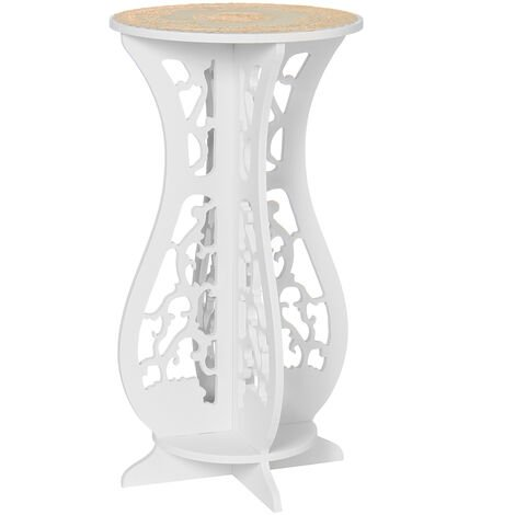 Small Round Side Table Flower Pot Stand 32X32X60cm White