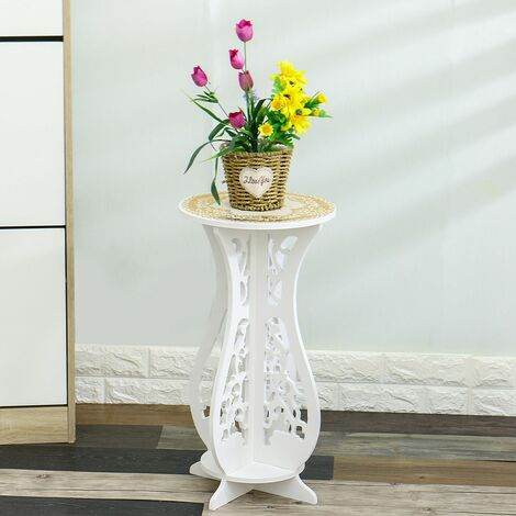 Small Round Side Table Flower Pot Stand Beside Tea Coffee Lamp Plant Stand Modern White Furniture for Home Office Living Room