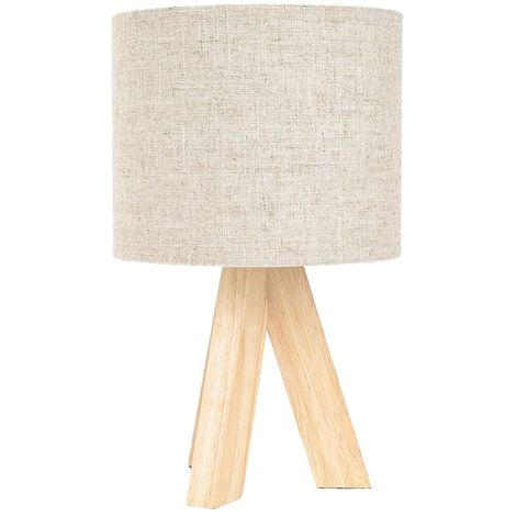Small Rubber Brown Wood Tripod Table Lamp with Natural Linen Oatmeal Shade by Happy Homewares