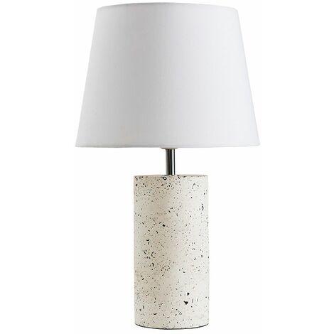 Small Table Lamp White Terrazzo Finish Base Fabric Shades - White