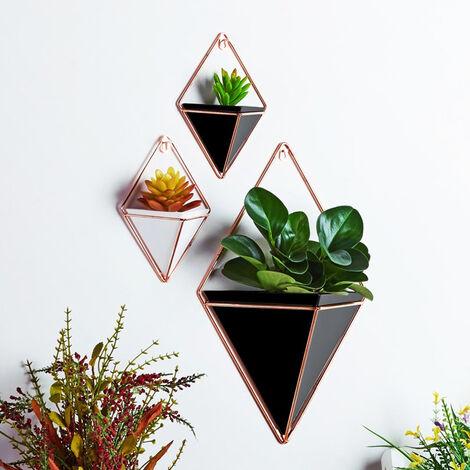 Small Wall Hanging Geometric Green Plants Planter Box Pot Flower Holder Ornament Decor, Black