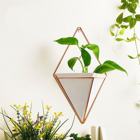 Small Wall Hanging Geometric Green Plants Planter Box Pot Flower Holder Ornament Decor, White