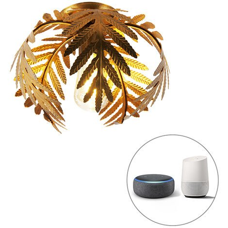 Smart ceiling lamp gold 24 cm incl. WiFi ST64 - Botanica