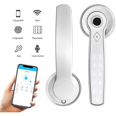 Smart fingerprint lock Smart door lock Suitable for home, office, apartment and hotel, Silver