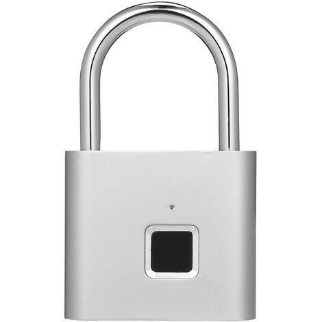 Smart Fingerprint Lock Zinc Alloy Body USB Charging IP65 Waterproof Silver