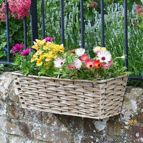"Smart Garden 19"" Rattan Effect Wall Fence Balcony Sand Planter Trough Basket"