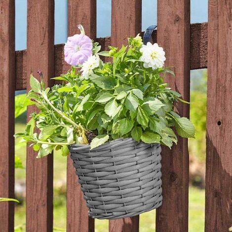 Smart Garden 20cm 8 Inch Rattan Effect Hanging Pot Basket Slate Grey Planter