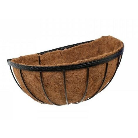 Smart Garden 50cm 20 Inch Saxon Metal Wall Manger Basket Black Planter Liner