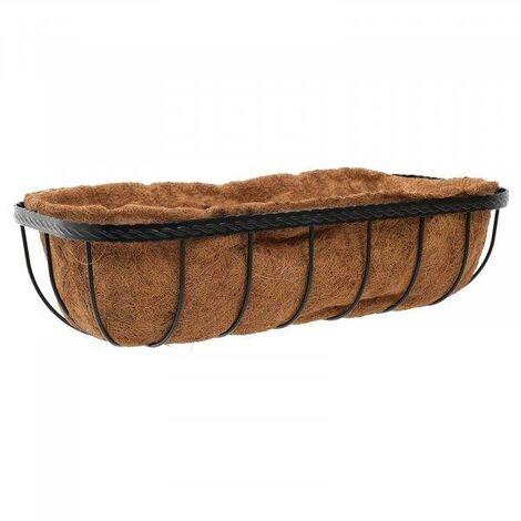 Smart Garden 60cm 24 Inch Saxon Metal Wall Trough Basket Black Planter Liner