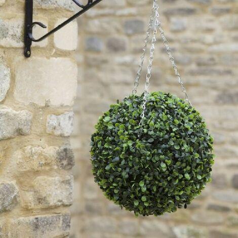 Smart Garden Boxwood Artificial 40cm Garden Topiary Leaf Ball & Chain Hanging