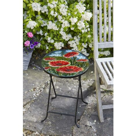 Smart Garden Red Poppy Flower Glass Garden Side Table Folding Indoor Outdoor